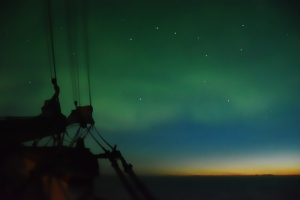 Permanent twilight and the northern lights during a night watch.